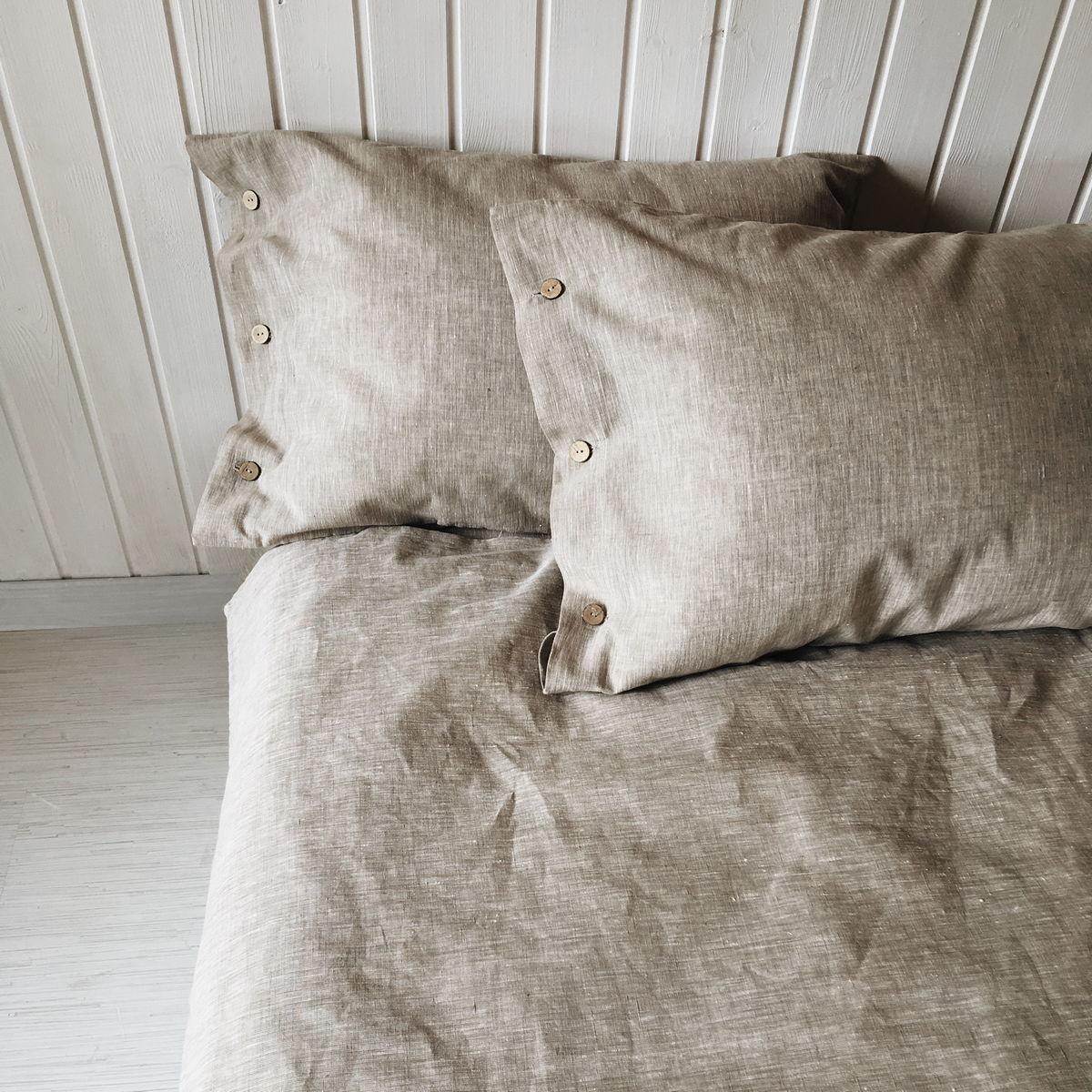 Льняной постельный комплект Капучино