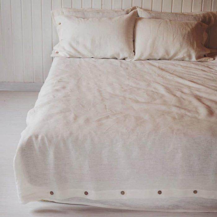 100% Льняной постельный комплект Белый