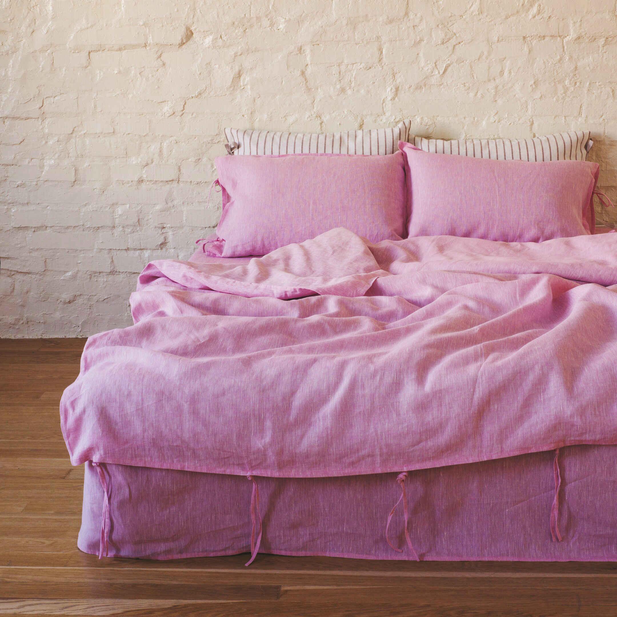 100% Льняной постельный комплект Розовый