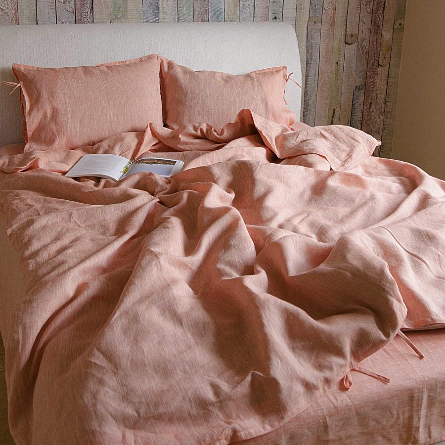 Комплект льняного постельного белья Абрикос