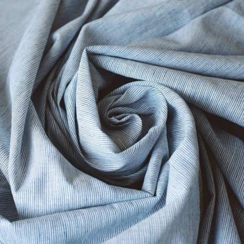 Льняные ткани в полоску Голубая