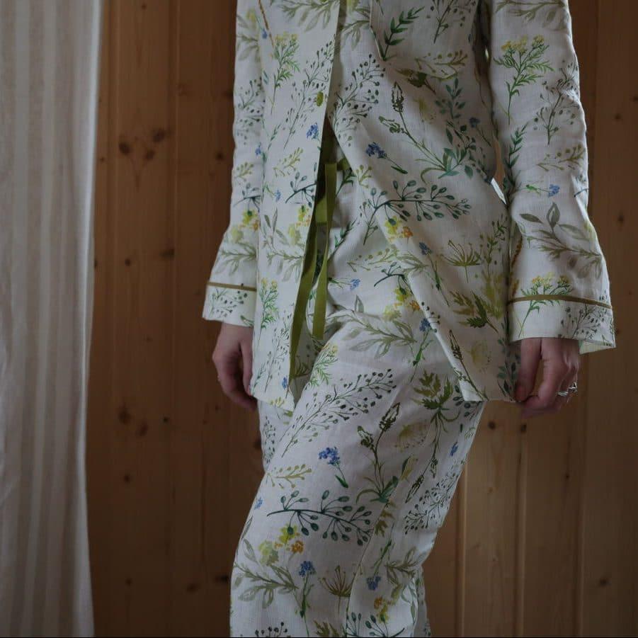100% Льняные пижамы Поляна
