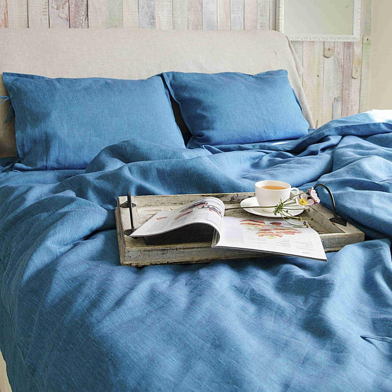 Льняной постельный комплект Индиго 20