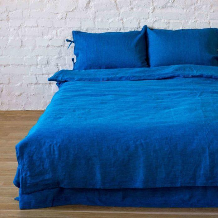 Льняной постельный комплект Индиго 30