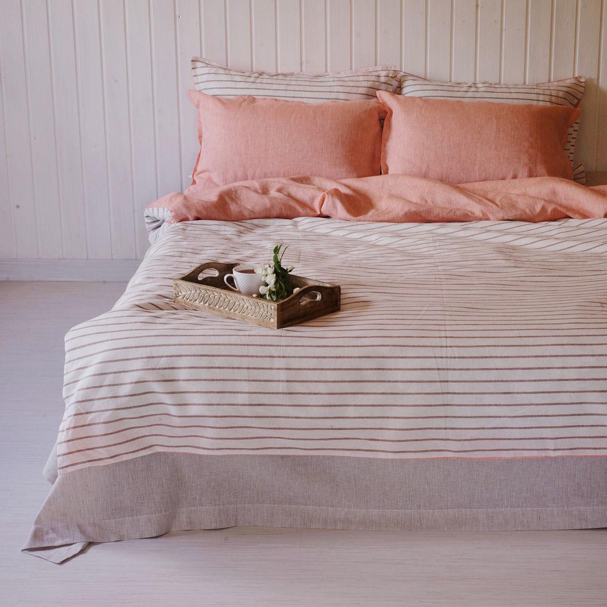 Льняной постельный комплект Рассвет 1