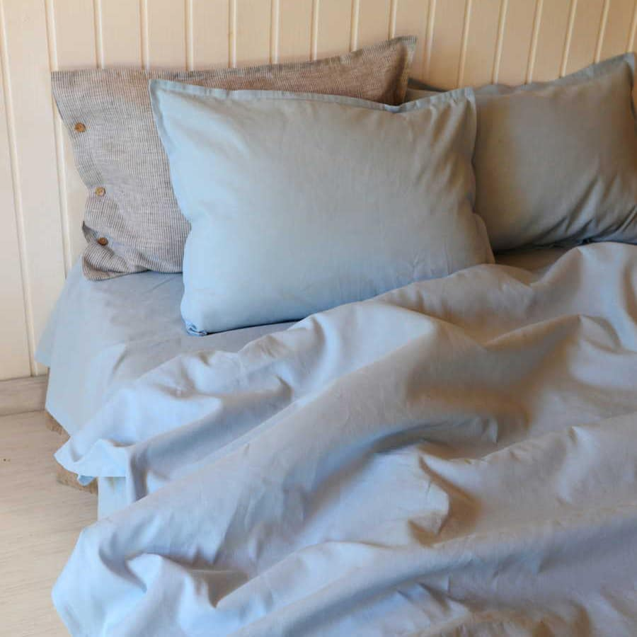 Льняное постельное белье - Небесно-Голубой комплект