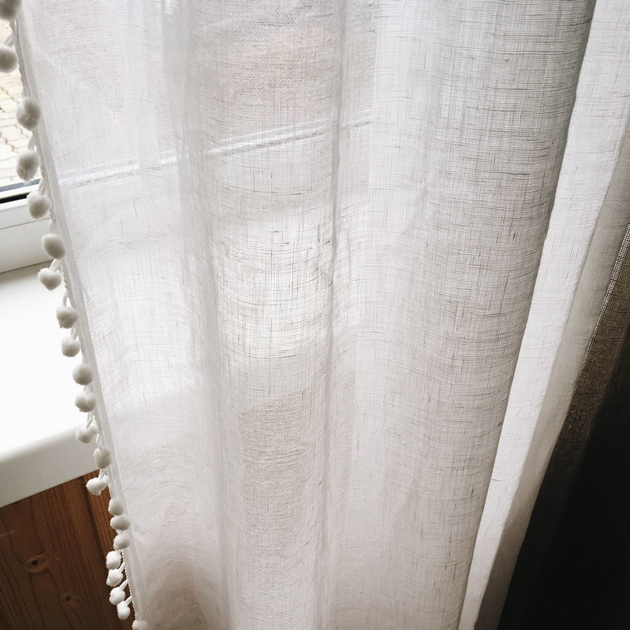 Льняная тюлевая ткань Белая 2