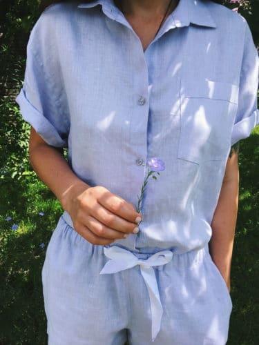 Пижамы льняные с шортами 1