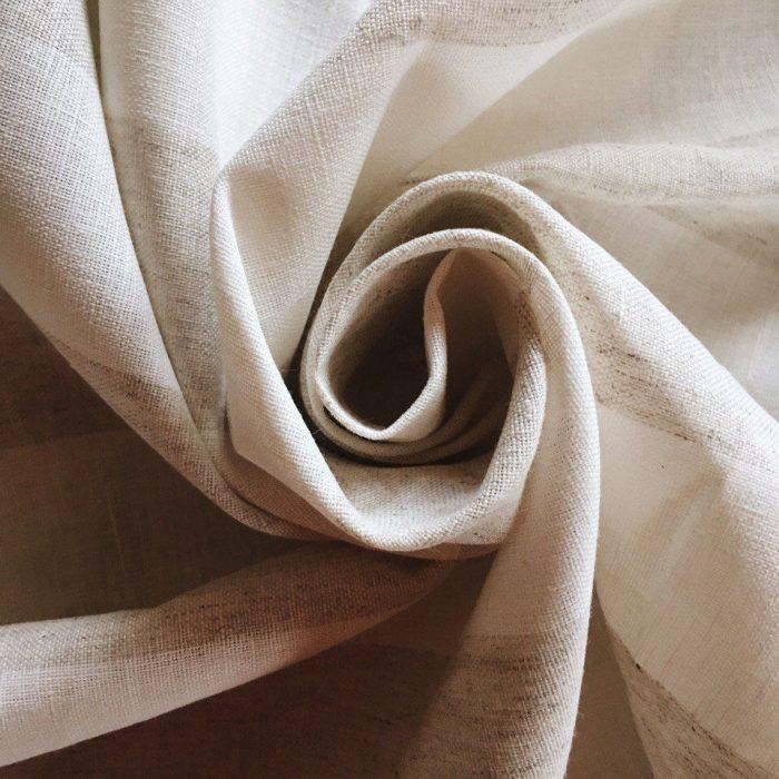 Льняные ткани - Ткань в широкую коричневую полоску Латте 4 см