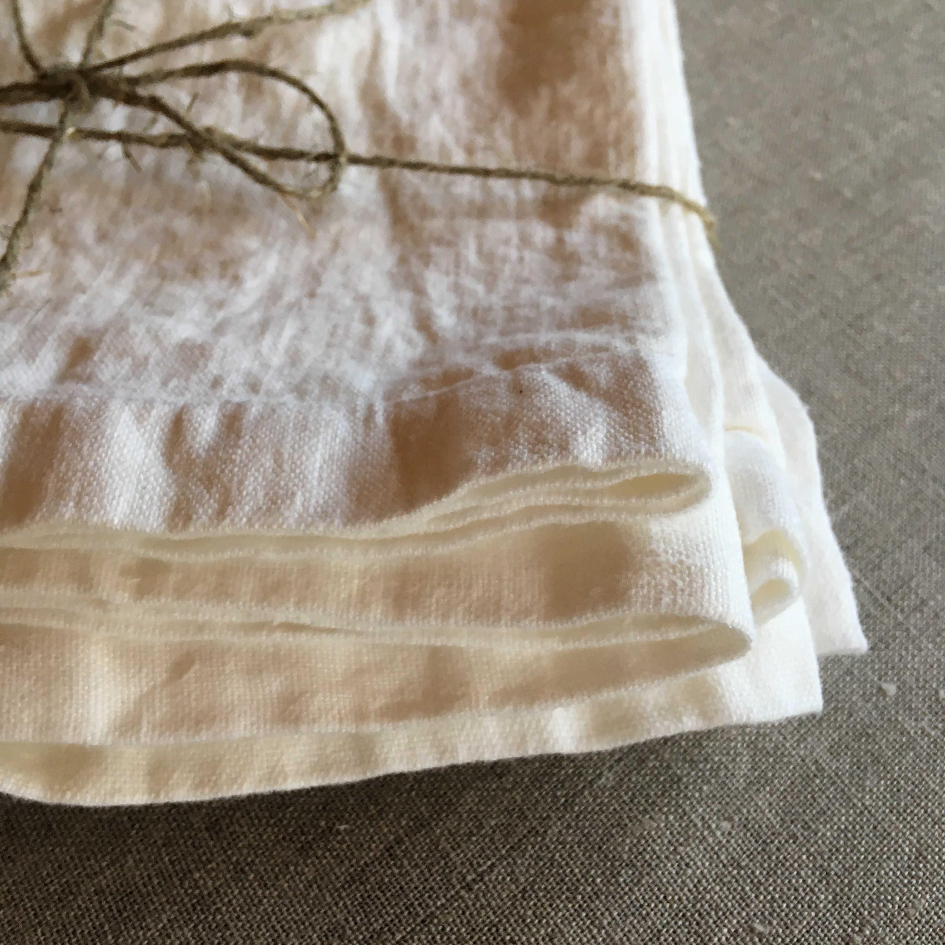 Салфетки льняные умягчённые белые - набор 3 шт