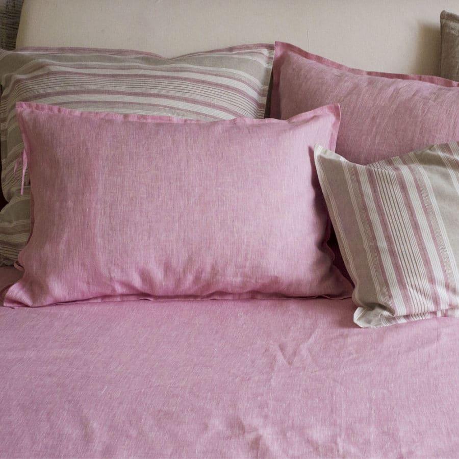 Льняная простынь Розовая 1