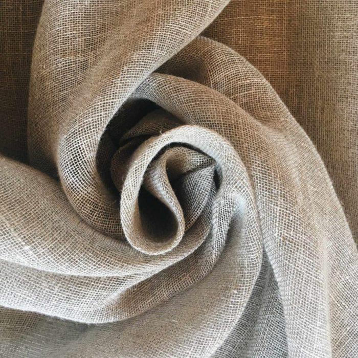Ткань для тюля из льна Серая