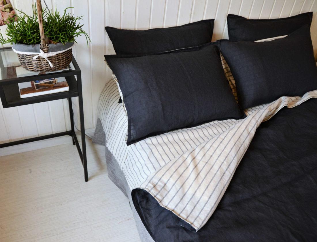 Льняной постельный комплект День и Ночь 4