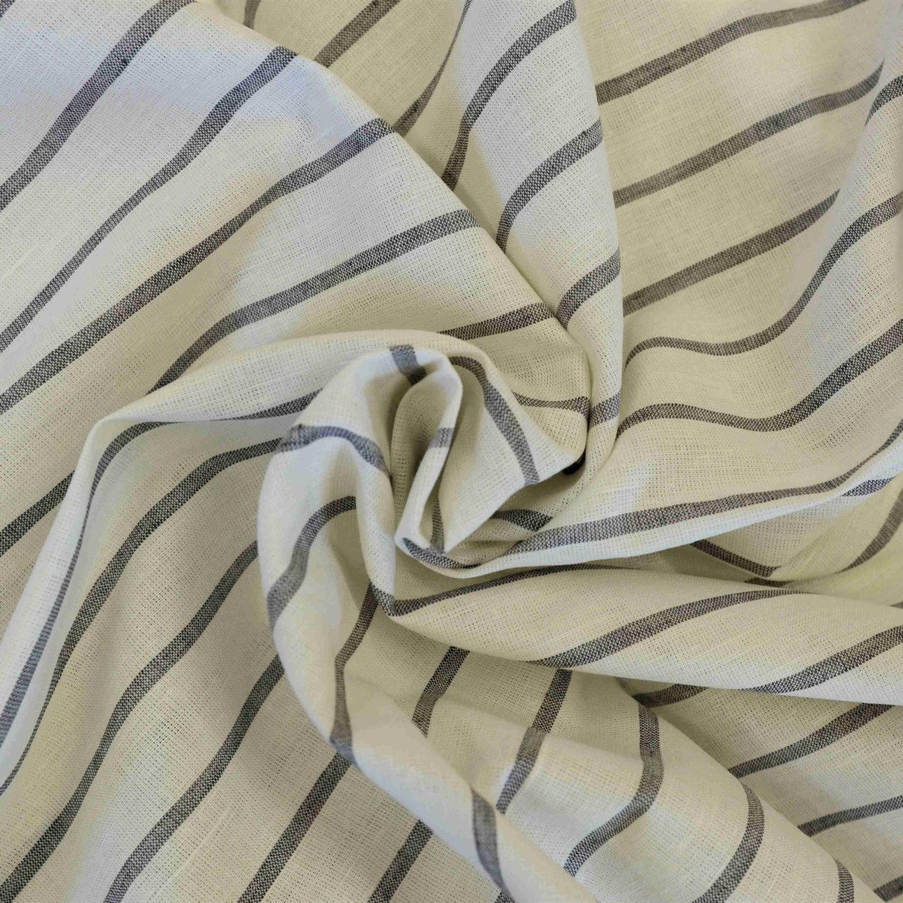 Ткань льняная белая в серую полоску