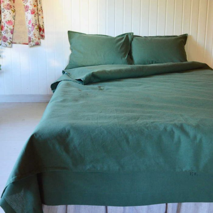 Комплект постельного белья из 100% льна Темно-Оливковый2