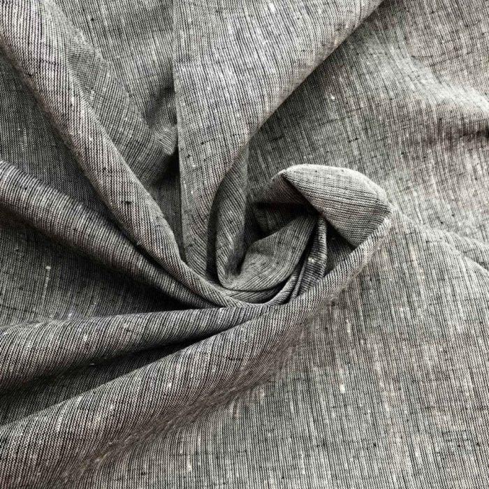 Льняные ткани - 100% Льняная широкая-260 см ткань Чёрный Песок
