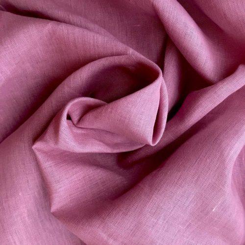 Льняные ткани - 100% Льняная широкая-260 см ткань Розовая