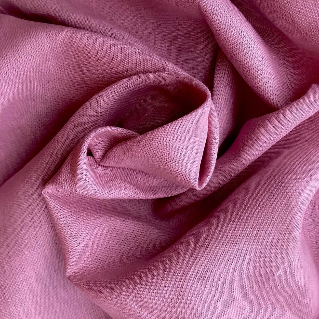 100% Льняная широкая-260 см ткань Розовая