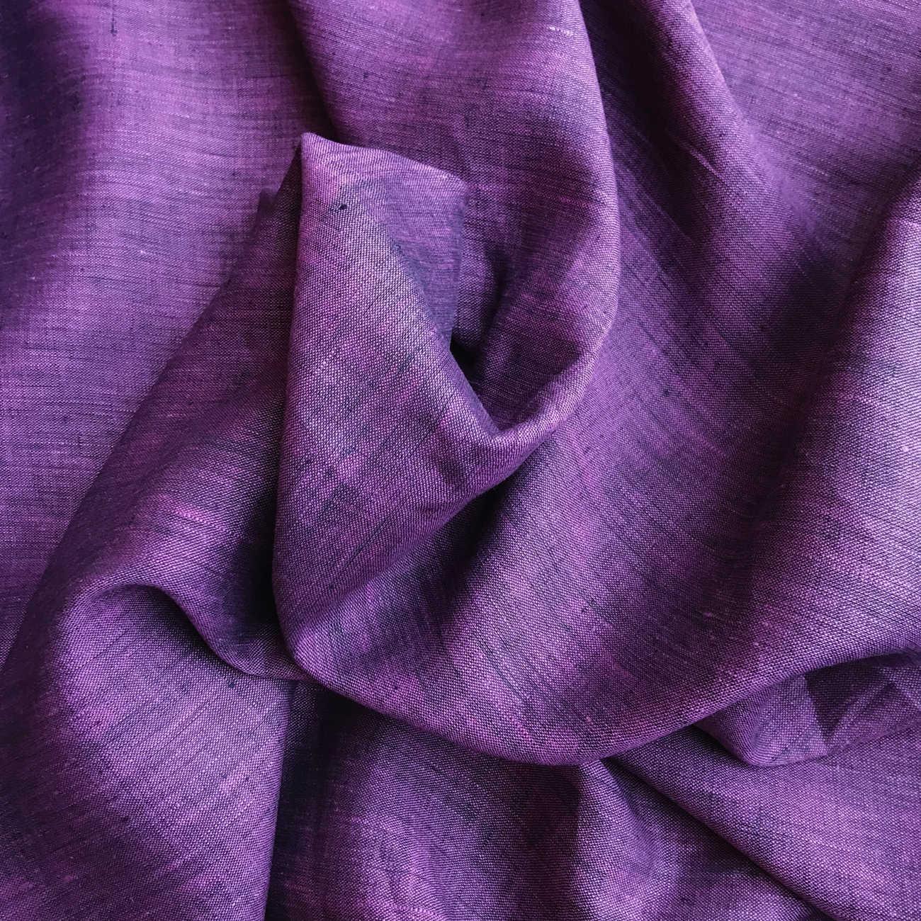 100% Льняная сорочечная ткань Черничная