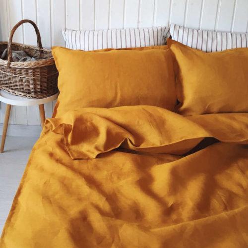 100% Льняной постельный комплект Горчичный