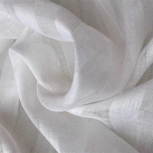 100% Льняной тюль фактурный белый