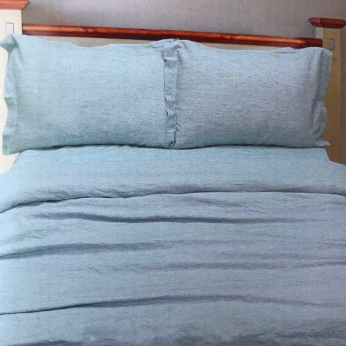 Льняной смягченный постельный комплект Голубой