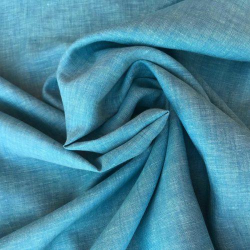 100% Льняная ткань Бирюза Сорочечная