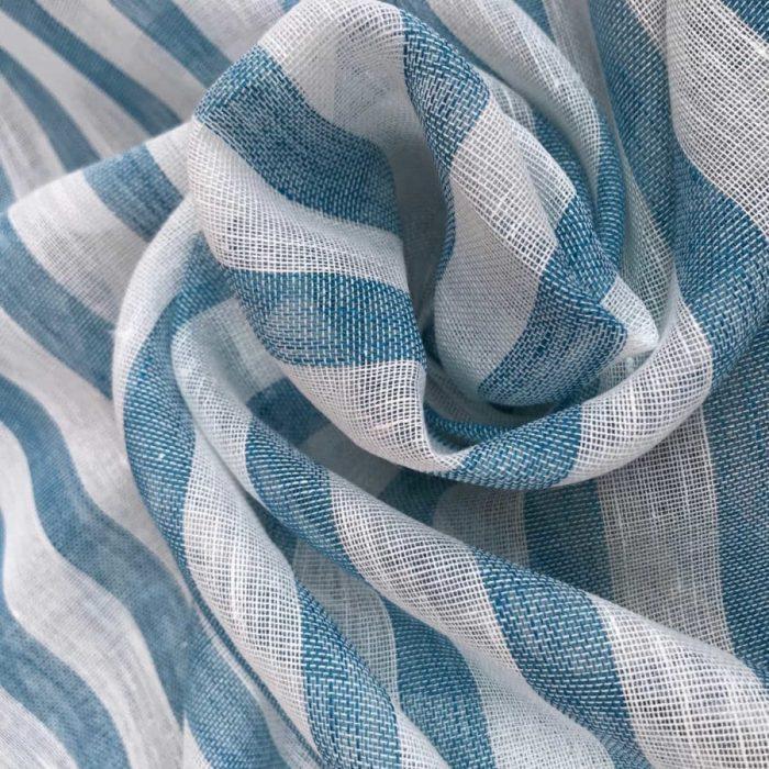 Льняная ткань Морская Волна