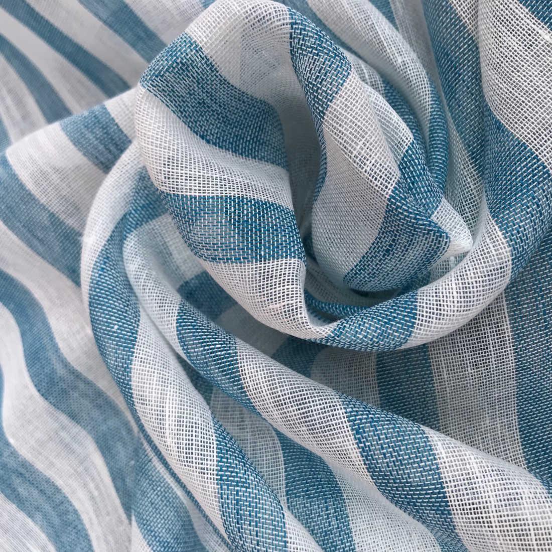 100% Льняная ткань Морская Волна