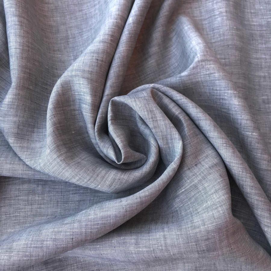 100% Льняная ткань Серая Сорочечная