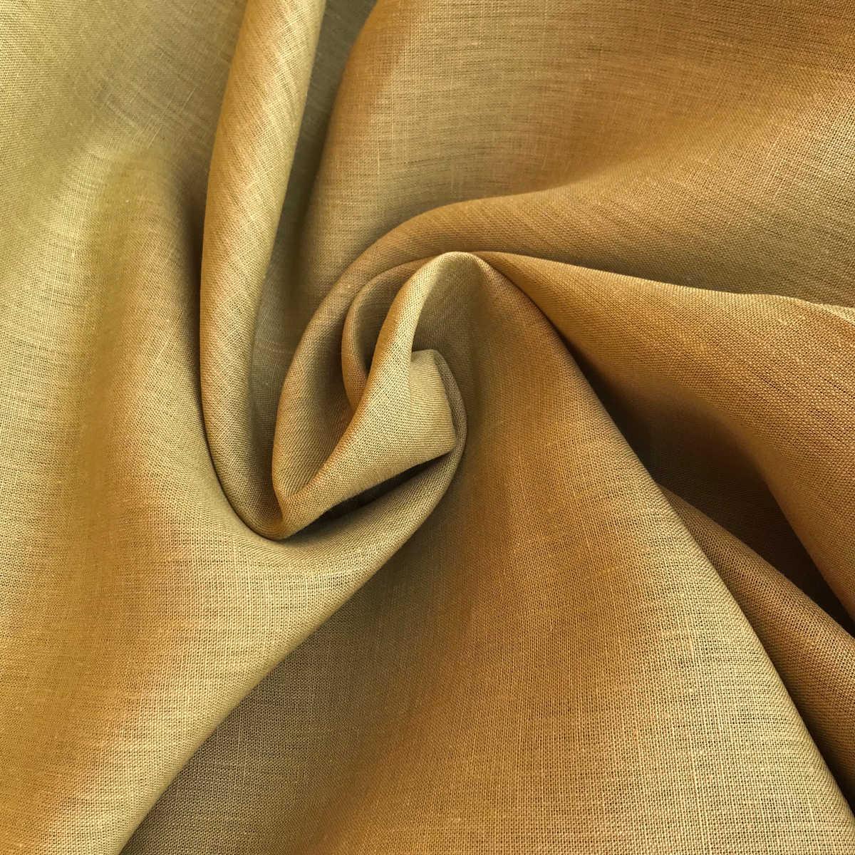 100% Льняная ткань цвет Горчичный