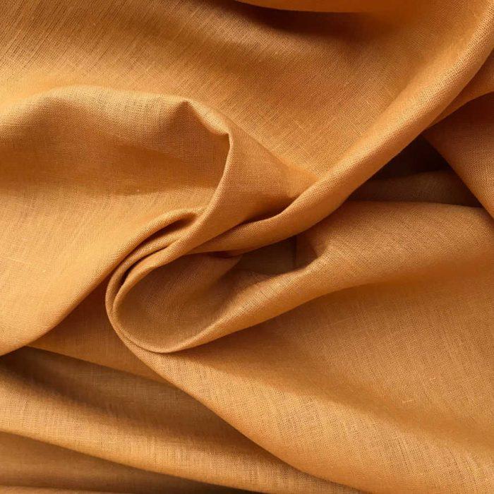 Льняные ткани - 100% Льняная ткань Карри