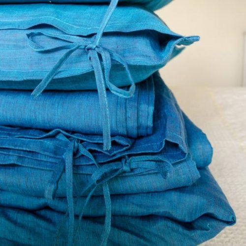 Льняное постельное белье Индиго