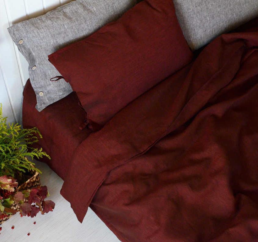 Льняной постельный комплект Бордо