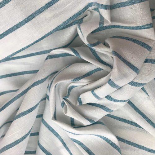 Льняная ткань в голубую полоску