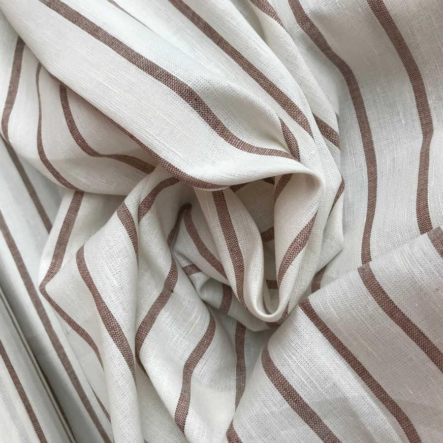 Льняная ткань в коричневую полоску