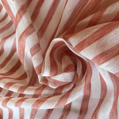 Ткань для тюля из льна - Коралл