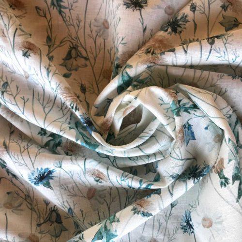 Ткань льняная сорочечная Луговые Цветы 1