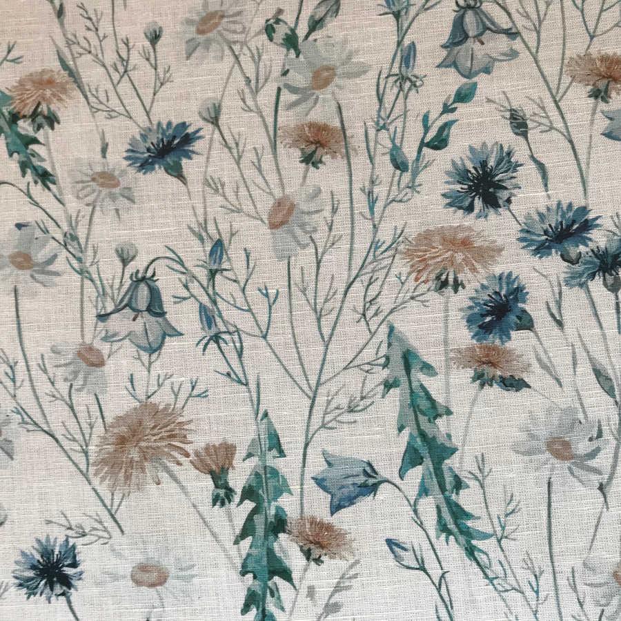 Ткань льняная сорочечная Ромашки 2