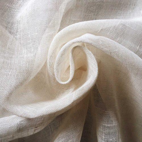 Льняная тюлевая ткань фактурная белая
