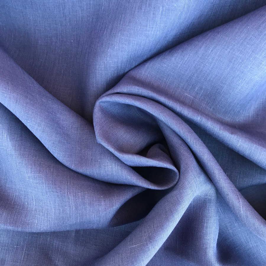 100% Льняная декоративная ткань Синяя
