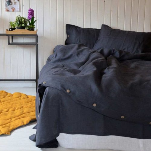 Льняное постельное белье Графит - lnyanoye