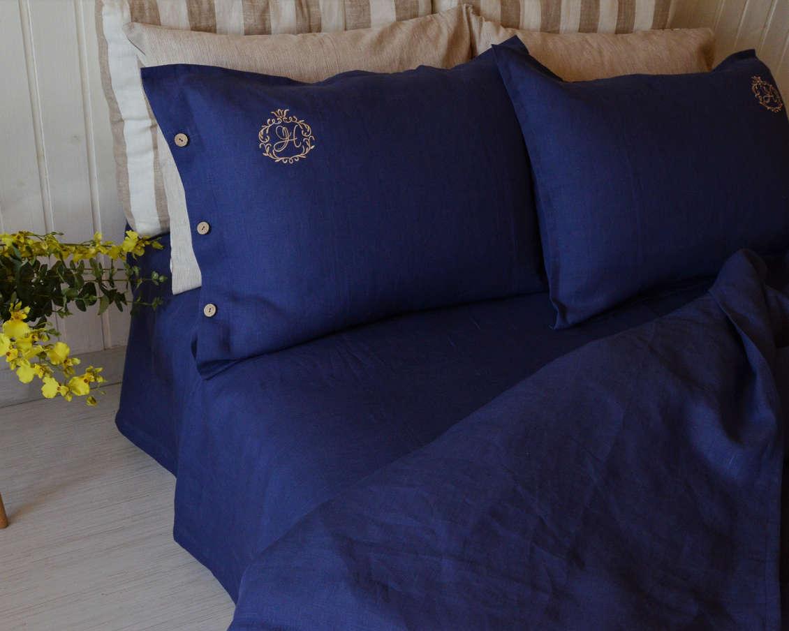 Льняное постельное белье с вышивкой-интернет магазин ЛЬНЯНОЕ