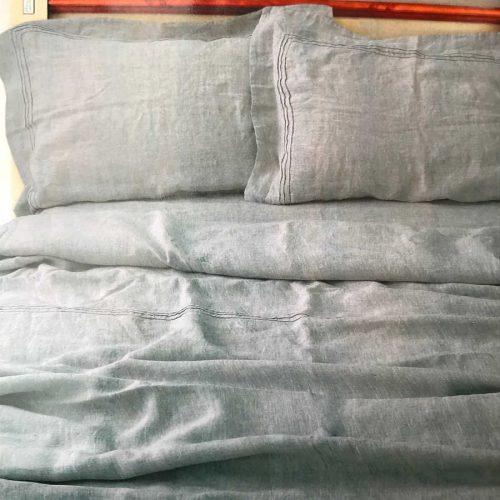 Льняной смягченный постельный комплект Серый -Орша