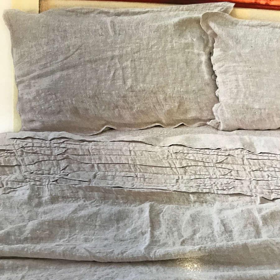 100% Льняной постельный комплект умягченный Натуральный Серый