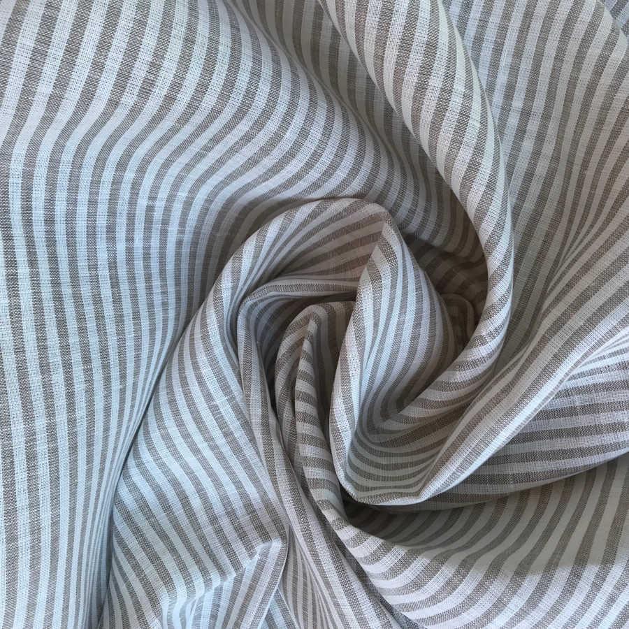 Льняные ткани - ткань в полоску 05