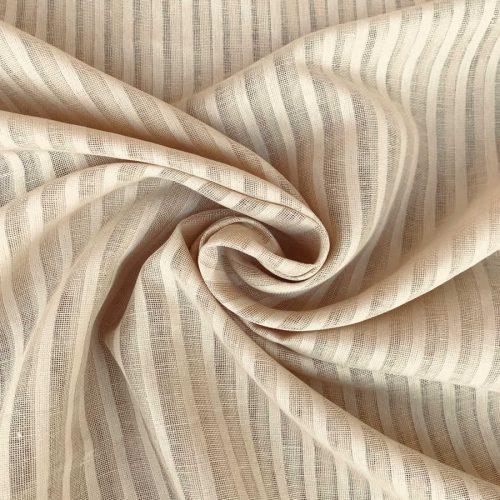 Ткань для тюля из льна - Кофейная Карамель