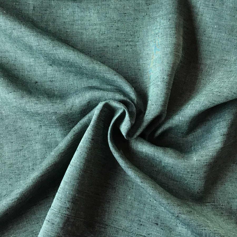 100% Льняная ткань Темно-Оливковая