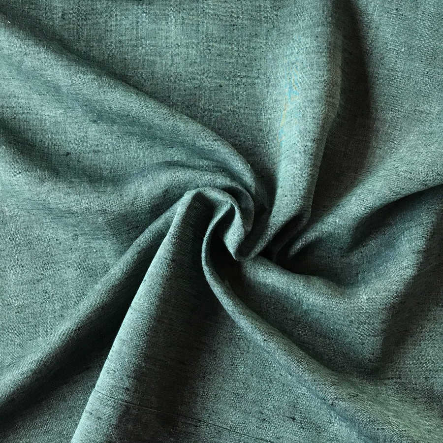 Льняные ткани - 100% Льняная ткань Темно-Оливковая