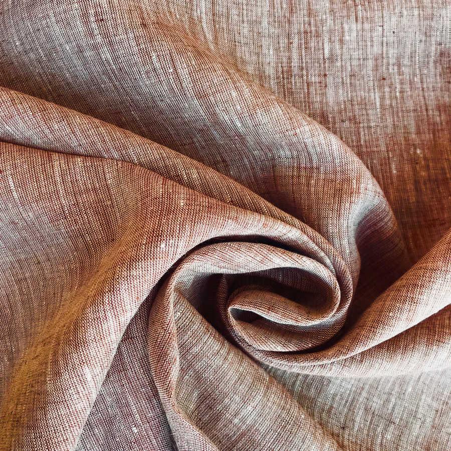 100% Льняная ткань Терракотовая У